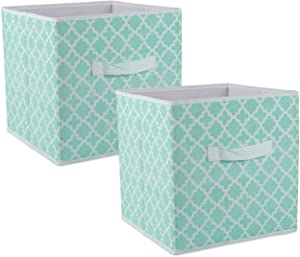DII Foldable Fabric Storage Containers for Nurseries, Offices, Closets, Home Décor, Cube Organizers & Everyday Use, 11 x 11 x 11, Aqua Lattice-Set of 2, Small S/2