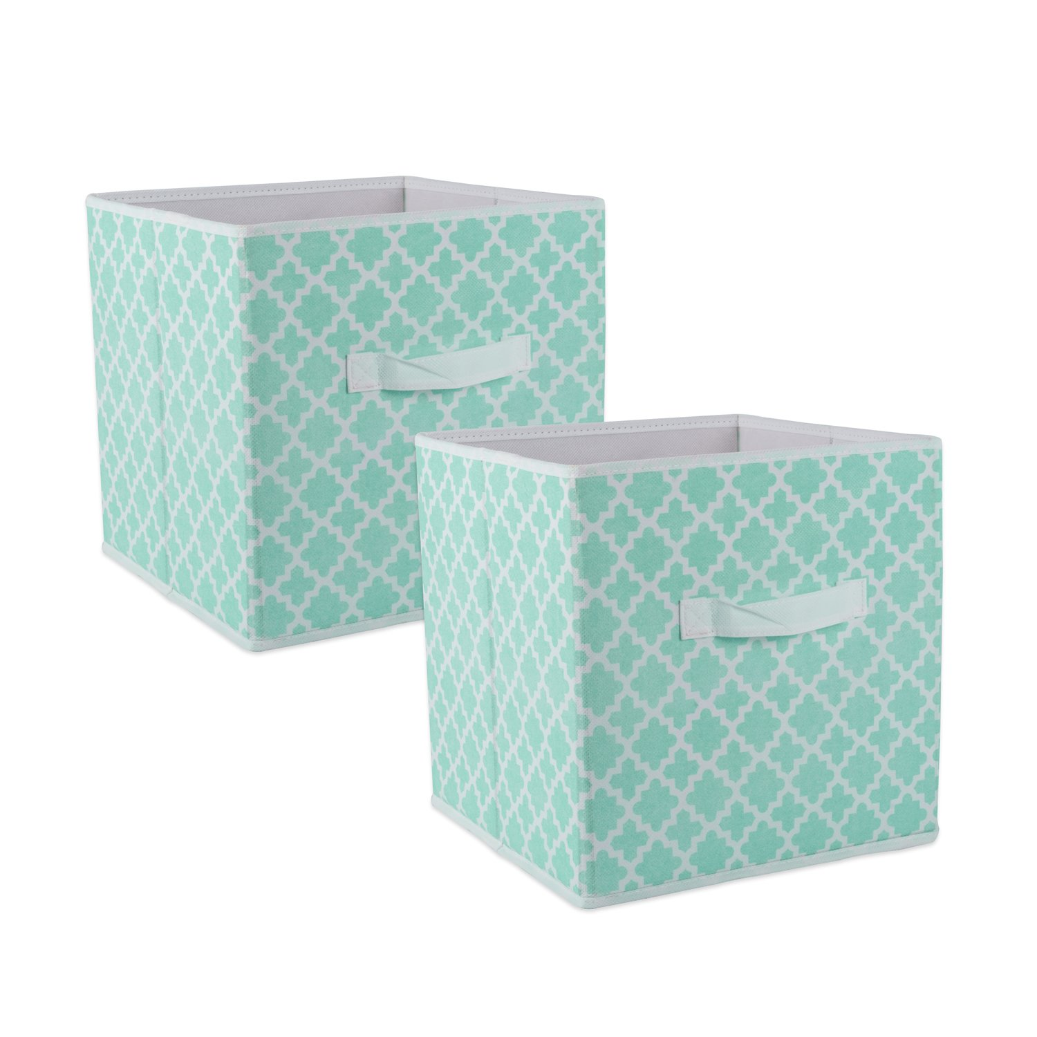 DII Fabric Storage Bins for Nursery, Offices, Home Organization, Containers are Made to Fit Standard Cube Organizers (11x11x11) Lattice Aqua - Set of 2 by DII