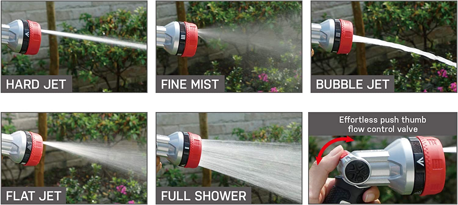 Eden 94804 Metal Thumb Control Heavy Duty Multi-Purpose 5-in-1 Garden Hose Sprayer Bubbler Nozzle 5-Pattern W//Quick Connector and Adapters Set