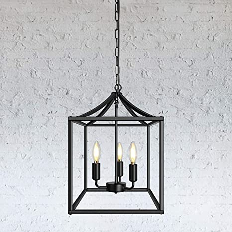 Amazon Com 3 Light Black Farmhouse Pendant Lighting Fixture Square Industrial Chandelier Loft Ceiling Light For Kitchen Dining Room Bedroom Foyer Home Improvement