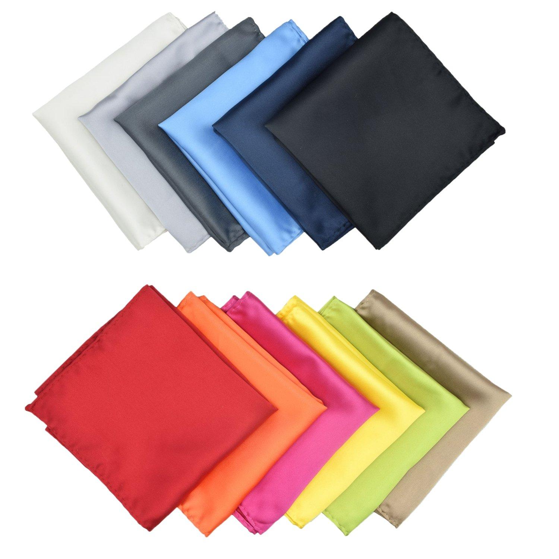 Mens Pocket Squares Solid Color Handkerchief for Wedding Party Microfiber 12 pcs