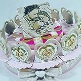 Bomboniere nascita battesimo bambino cuore sacra famiglia ceramica effetto pietra2 (Torta da 28 fette)