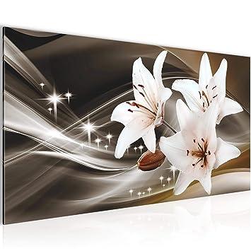 Bilder Blumen Lilien Wandbild 100 x 40 cm Vlies - Leinwand Bild XXL Format  Wandbilder Wohnzimmer Wohnung Deko Kunstdrucke Braun 1 Teilig - Made IN ...