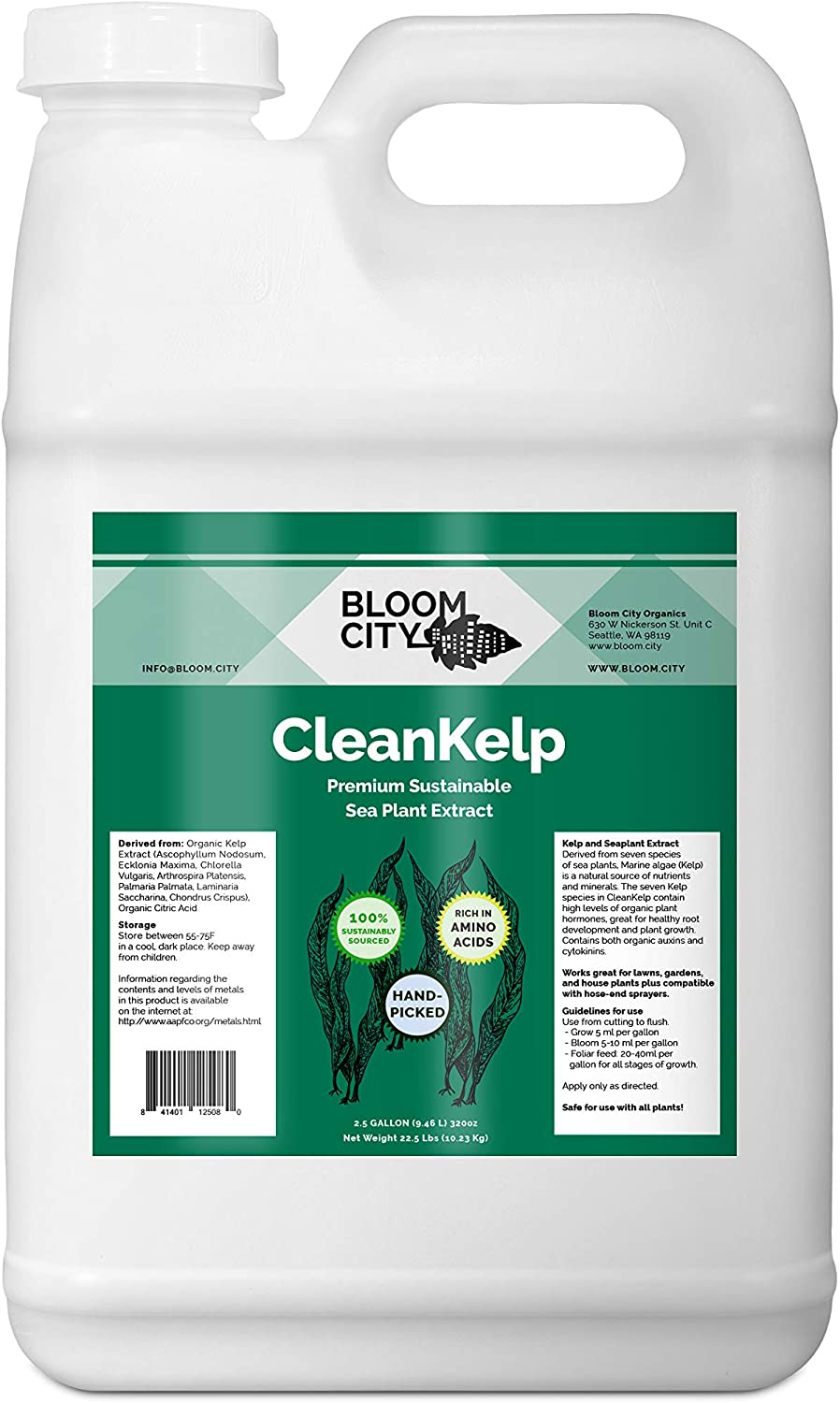 Organic Liquid Seaweed and Kelp Fertilizer Supplement by Bloom City, 2.5 Gallon (320 oz) Concentrated Makes 1800 Gallons