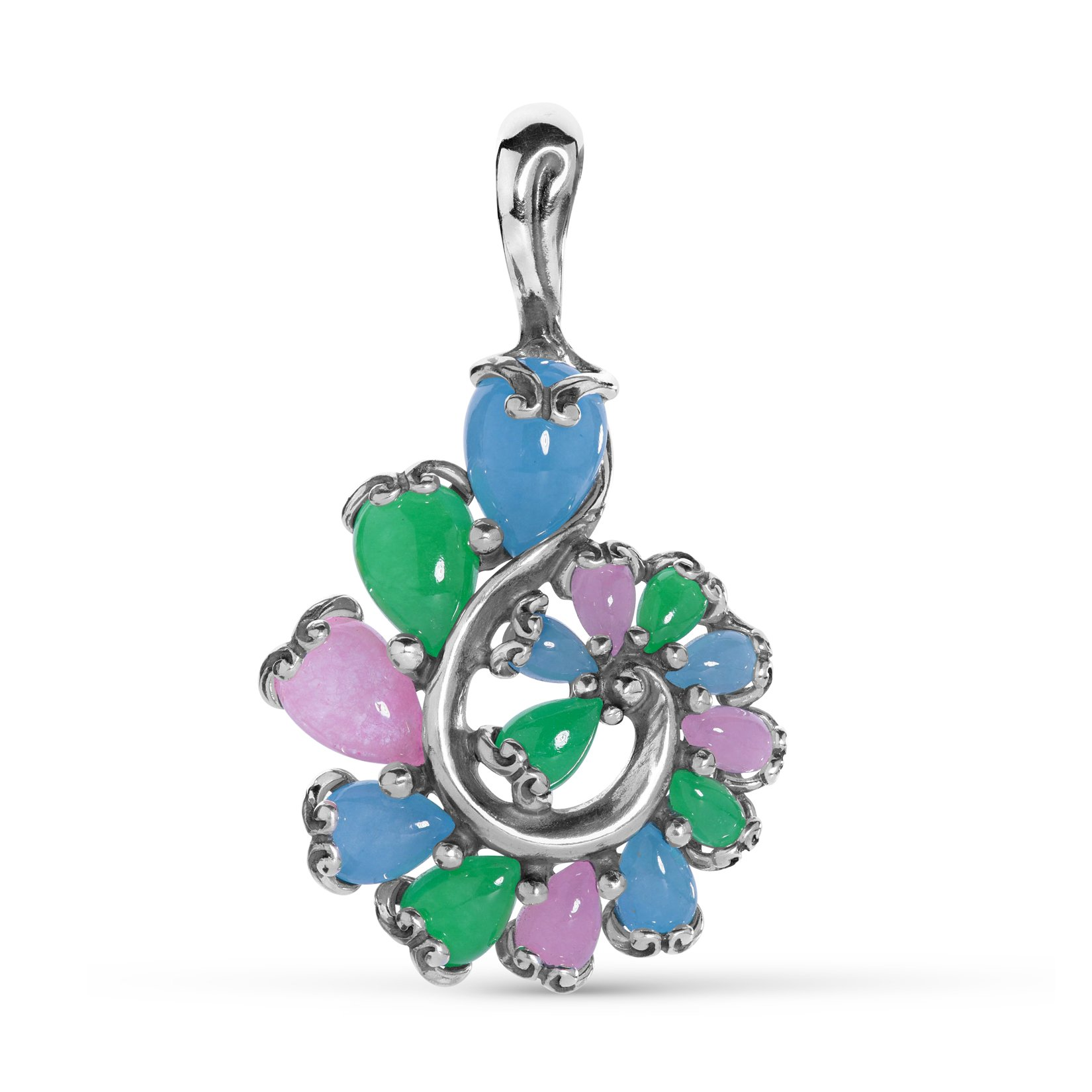 Carolyn Pollack Sterling Silver Multi-Colored Jade Gemstone Cascading Swirl Pendant Enhancer by Carolyn Pollack