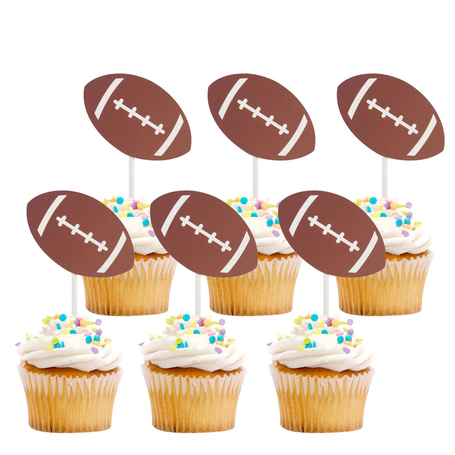 iMagitek 30 Pack US Football Cupcake Toppers Picks Cake Decorations for Kids Birthday, Football Theme Party by iMagitek