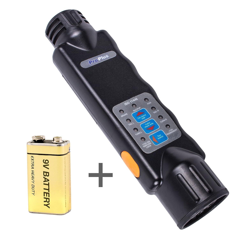 Tester illuminazione rimorchio 13 pin 12 Volt incl. batteria da 9 Volt Pro Plus