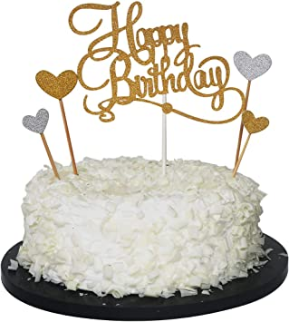 Remarkable Amazon Com Sunny Zx Happy Birthday Cake Topper Gold Glitter Funny Birthday Cards Online Necthendildamsfinfo