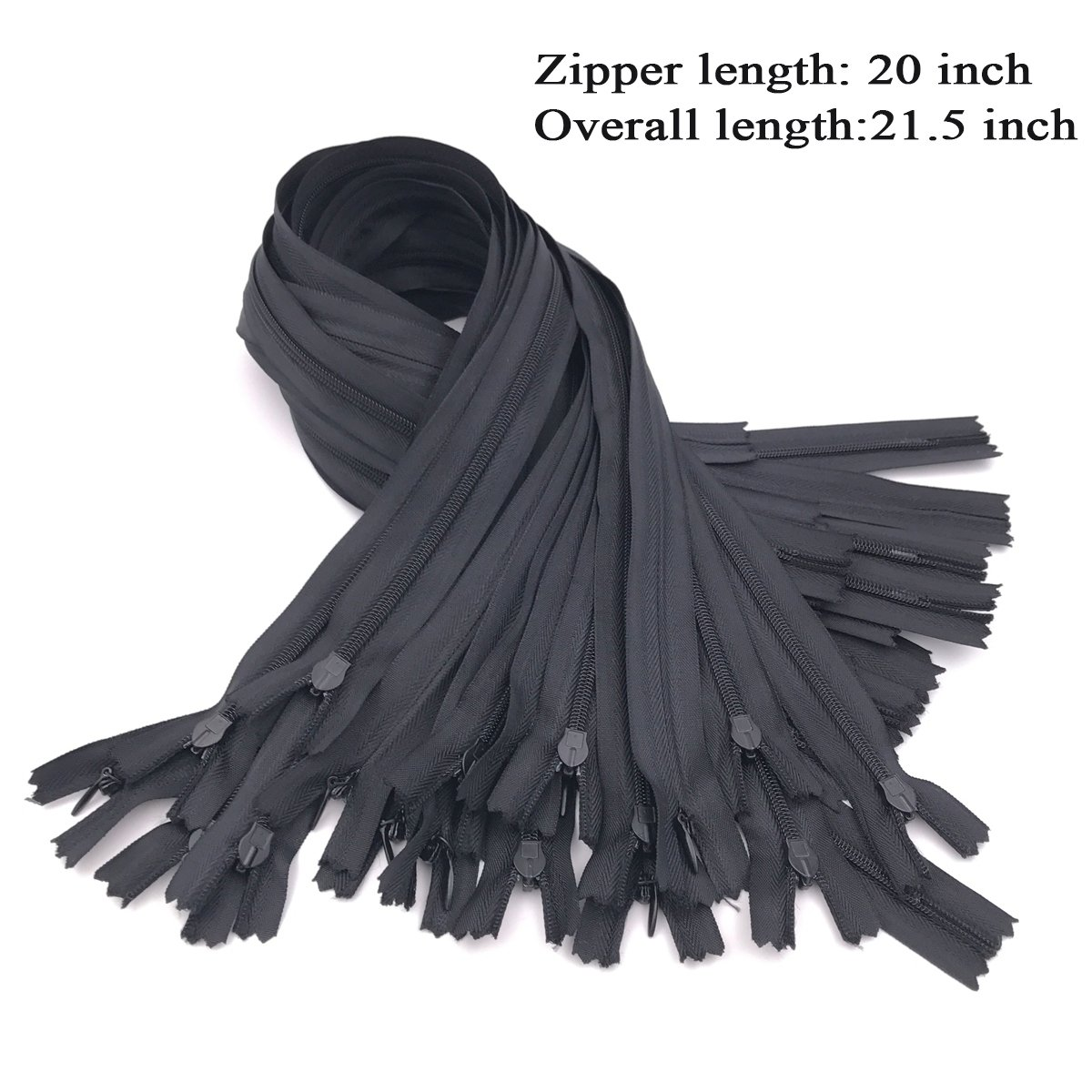 25PCS Nylon Invisible Zipper,DIY Sewing Zippers for Handmade Garment//Bags//Home Textile,Tailor Sewer Crafters Special 18 inch,White