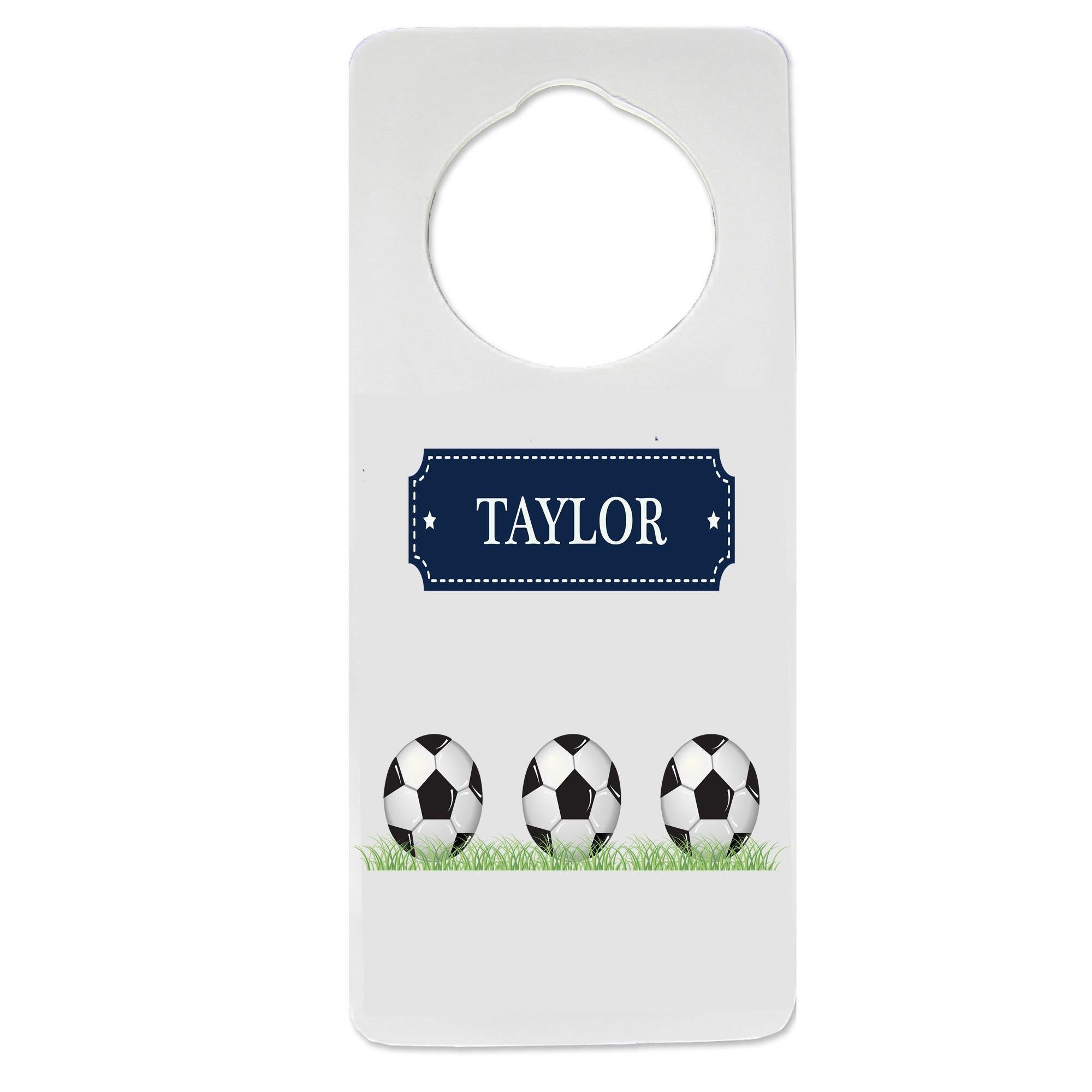 Personalized Soccer Balls Nursery Door Hanger
