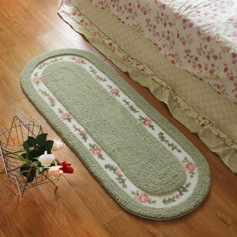 Sytian® Large Size 45*125cm Floral & Rural Rug Beautiful & Romantic Rose Flower Rug Shaggy Area Rug Soft Doormat Floor Mat Bedroom Carpet / Non Slip Absorbent Bath Mat Bathroom Shower Rug (Beautiful Green)