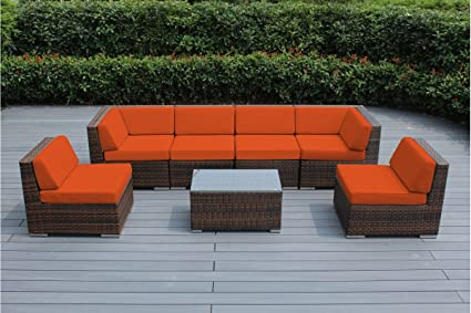 Ohana 7 Piece Outdoor Patio Furniture Sectional Conversation Set, Mixed  Brown Wicker With Orange