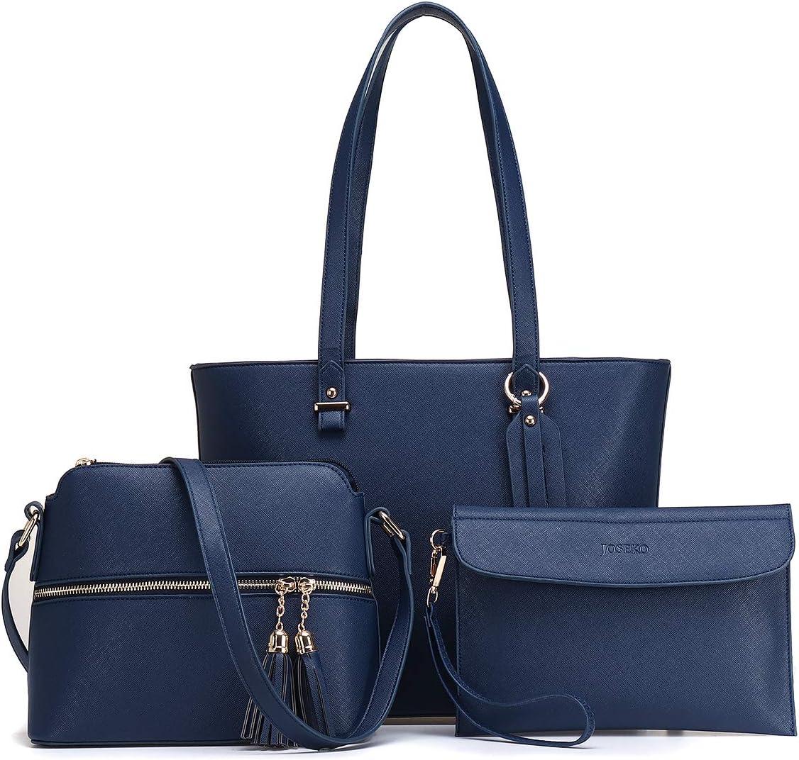 Handbags for Women, JOSEKO Fashion Tote Shoulder bags Crossbody Bags Top Handle Satchel Hobo 3pcs Purse Set Blue
