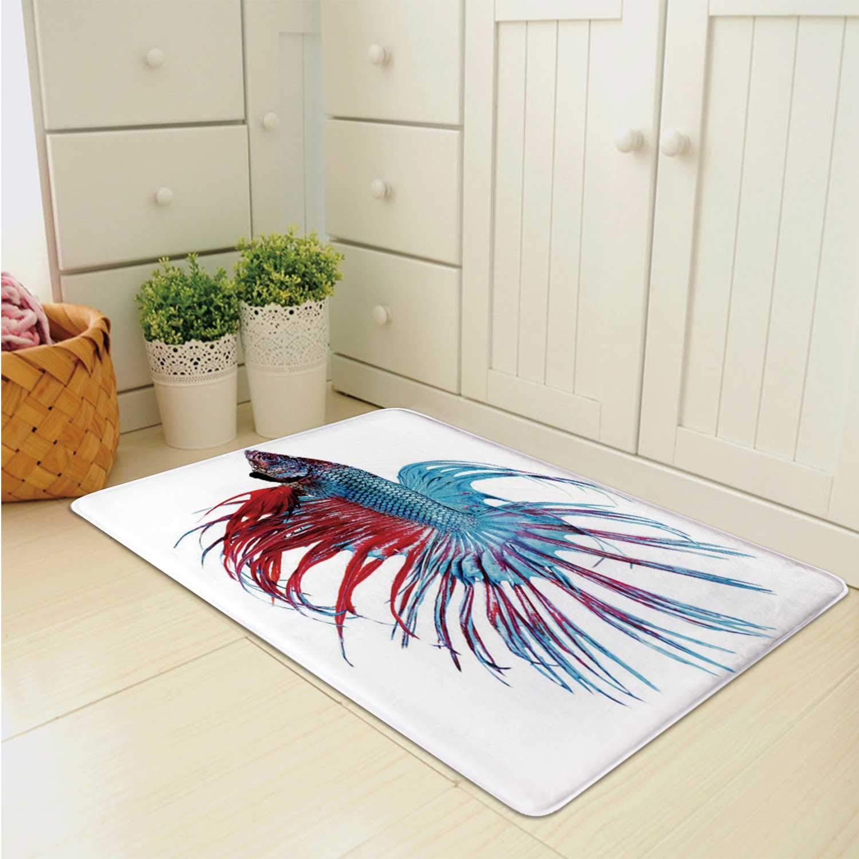 YOLIYANA Aquarium Durable Doormat,Fantastic Betta Fish Close Up Dragon Fish with Fringy Tail Tropic Aquatic Life Decorative for Bed Room,31''Lx19''W by YOLIYANA