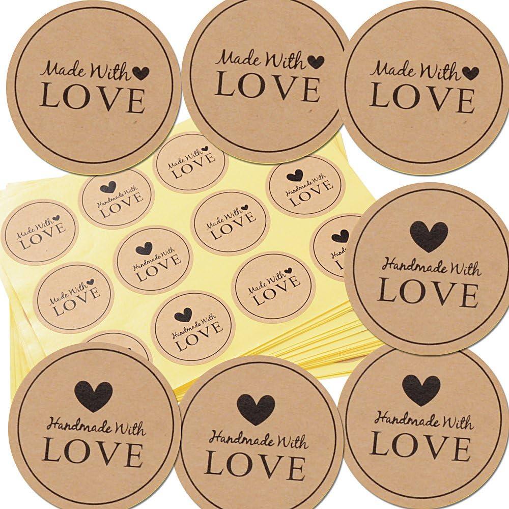 300pcs Etiqueta Adhesiva Pegatina Kraft para Sello Scrapbooking Regalo Bolsa Jabón Recuerdo Boda Fiesta Aniversario Cumpleaños (3.8 * 3.8cm) (300*(Hand) made With Love)