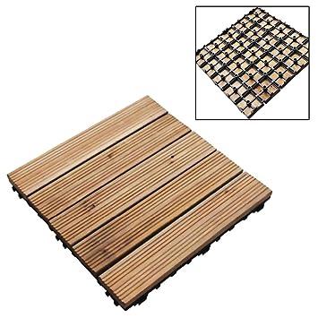9 Wooden Floor Deck Tiles Slab Set Easy Locked For Garden Patio