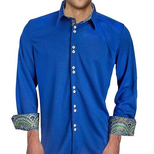 c64ad6ed067cd1 Anton Alexander Dark Blue With Green Moisture Wicking Dress Shirt - Made In  USA (XS