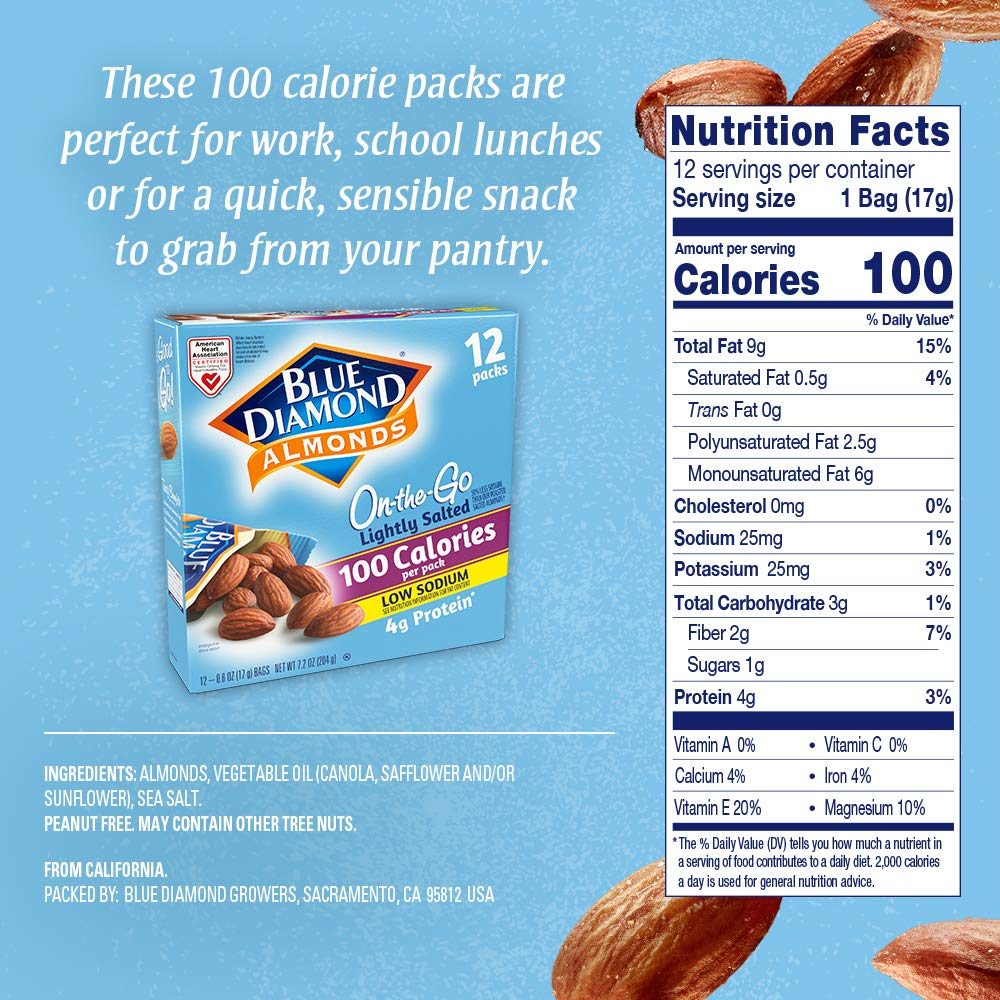 Blue Diamond Almonds On the Go 100 Calorie Packs, Lightly Salted, 12 Count 71RqnavpDwL