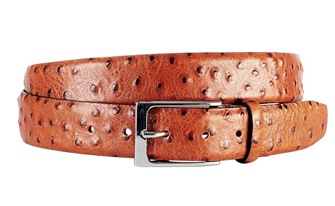 4ab53bff88f2d6 Leder-Gürtel für Herren in Braun: aus 100% Kalbsleder Strauss (Imitat),  hergestellt in Handarbeit, ideal als Jeans-Gürtel, Anzug-Gürtel - Vollleder  ...