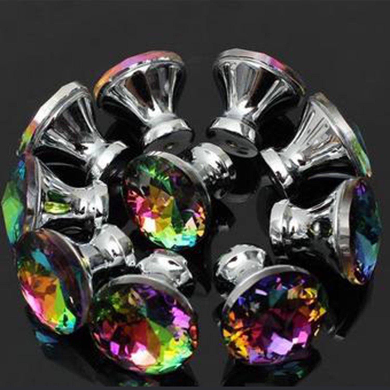 gloednApple 10pcs Multicolored Diamond Crystal Glass Door Knob Pulls Handles for Cabinet Drawer Cupboard Furniture