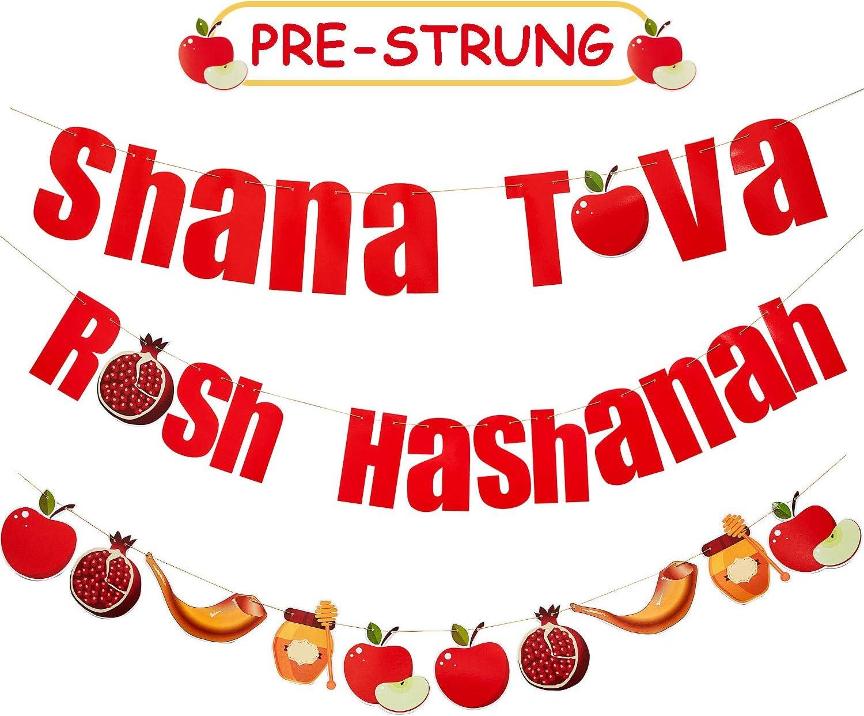 3 Pieces Shana Tova Banner Rosh Hashanah Banner Jewish New Year Garland Jewish Holiday Greetings Paper Garland Jewish New Year Party Decorations