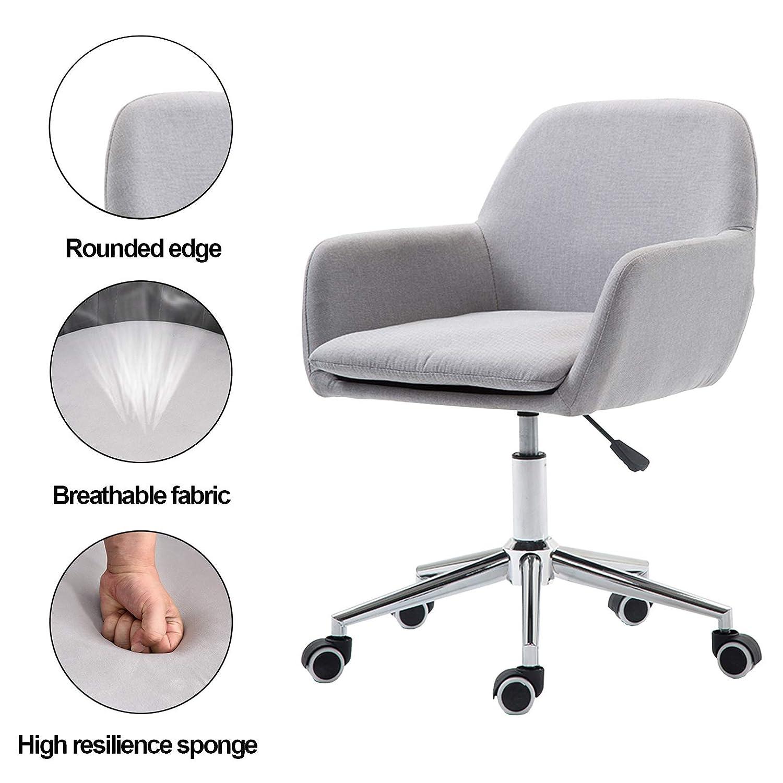 360° svängbar stol mitten av ryggen dator uppgift stol korsryggsstöd med tjock linnekudde för kontor hem, vardagsrum (Max belastning 150 kg) Ljusgrå