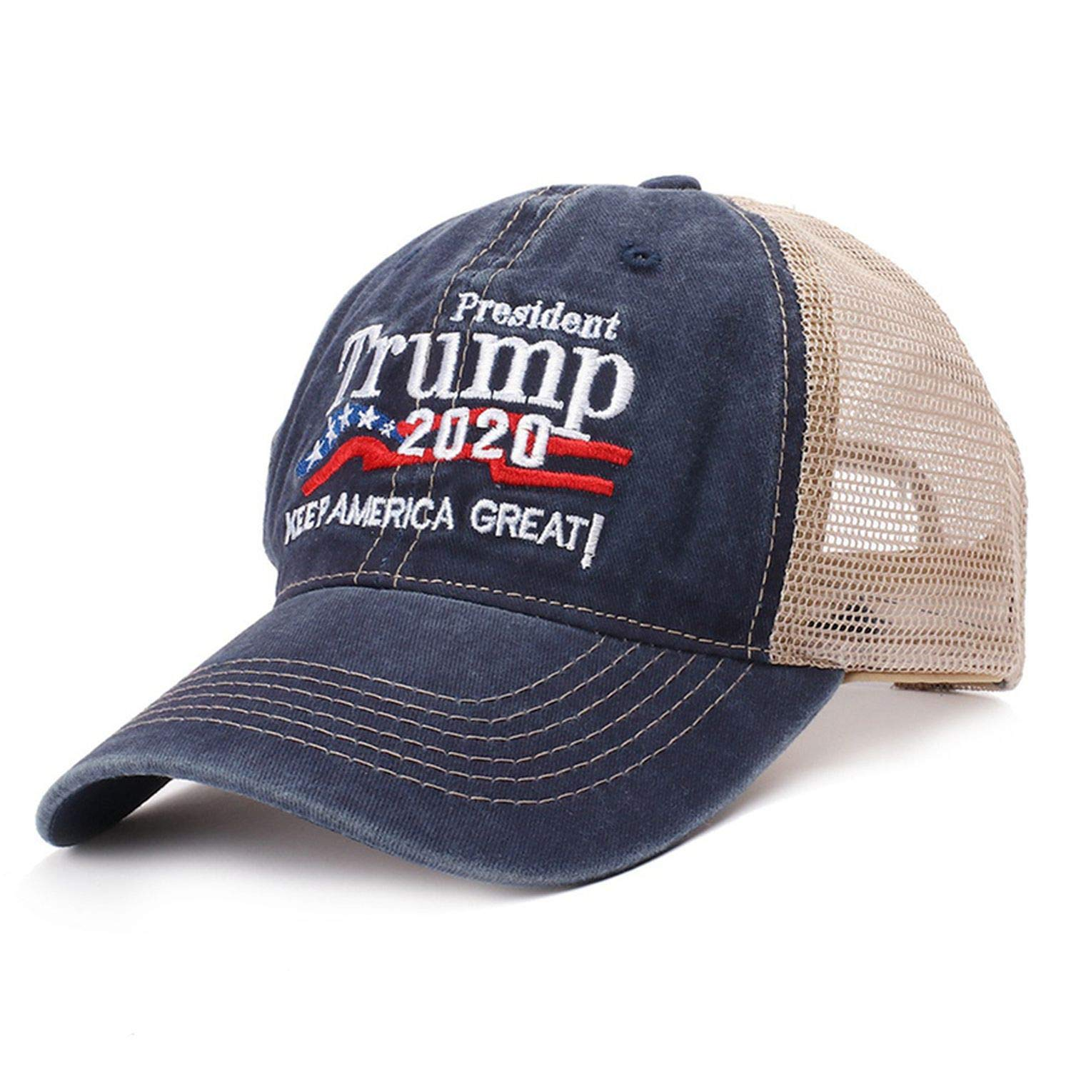 Trump 2020 Red Hat Mesh Baseball Cap Keep America Great Embroidery Letter Camouflage Army Trucker,RD