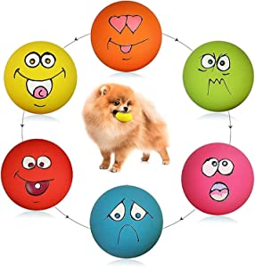 Smile Face Dog Squeaky Toys Soft Latex Squeak Balls for Puppy Small Medium Pet Dogs 6 Pcs/Set