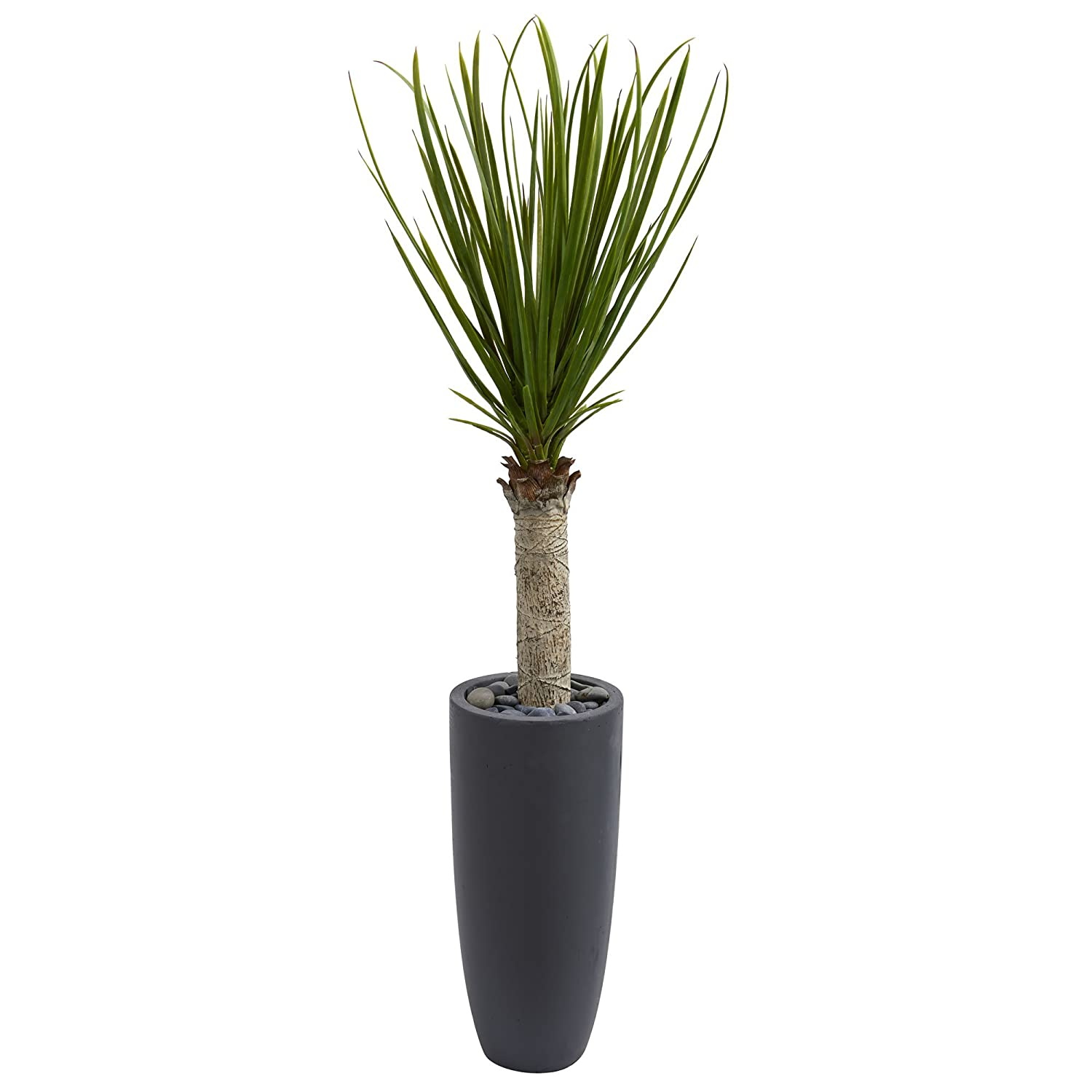 Nearly Natural Yucca Tree in Gray Cylinder Planter, 4' B078TZ9YTG