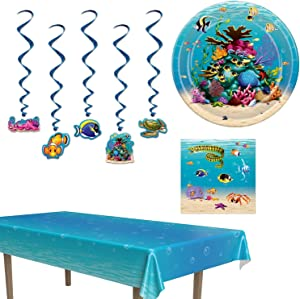 Under the Sea Party Decorations with Table Cover, Hanging Whirls, and Plates and Napkins for 16 Guests with Coral Reef Design, Perfect for a Baby Shower, Birthday Party or School Party