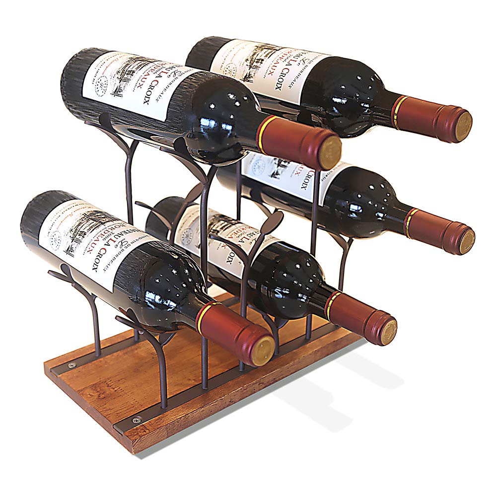 STONE Countertop Wine Rack, Tabletop Wood Wine Holder, Perfect for Home Decor & Kitchen Storage Rack, Bar, Wine Cellar, Cabinet, Pantry, etc,Hold 6 Wine Bottles, Wood & Metal (Bronze)