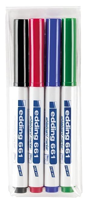 edding 661-4-S - Marcador para pizarra blanca, 4 unidades, colores azul, rojo,verde y negro