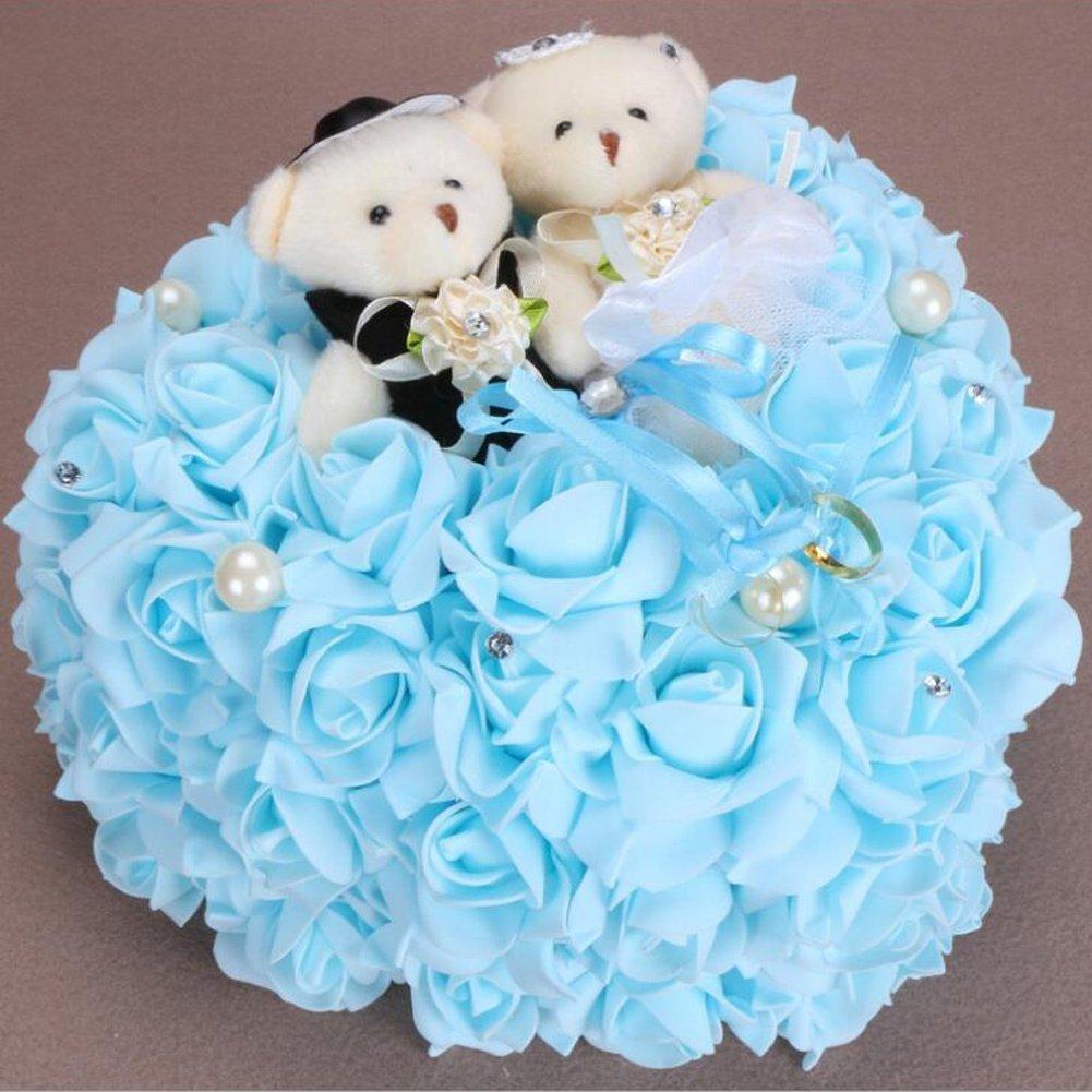 M Bride Bear Ring Pillow Rose Love Ring Pillow 2525 cm, blue, 2525cm