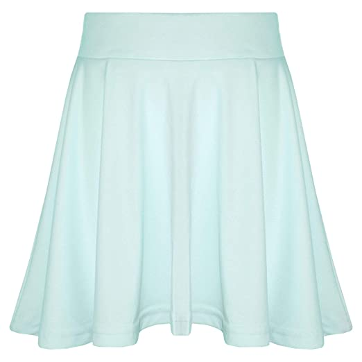 8ea45fa601 Amazon.com: New Girls Skater Skirts School Fashion Summer Plain Skirt 5 6 7  8 9 10 11 12 13Y: Clothing