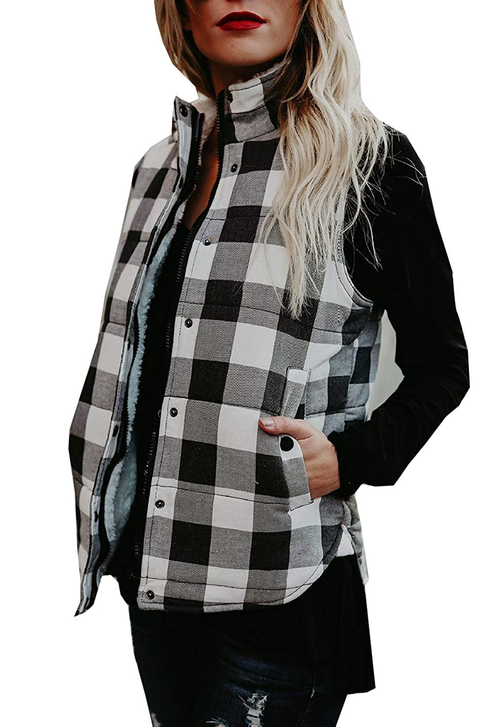HSRKB Women's Sleeveless Vest Plaid Open Front Cardigan Warm Winter Coat with Pockets