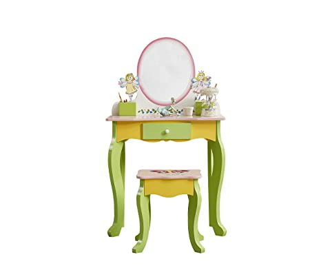 Wondrous Wodeny Kids Wooden Vanity Table Stool Set Dresser Vanity Beauty Set Child Makeup Table Childrens Vanity Set With Mirror For Little Girls Lamtechconsult Wood Chair Design Ideas Lamtechconsultcom
