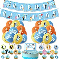 36 pcs bluey Party Supplies, bluey Theme Birthday Party Decorations, Latex balloons, Cake Topper, banner,children party…