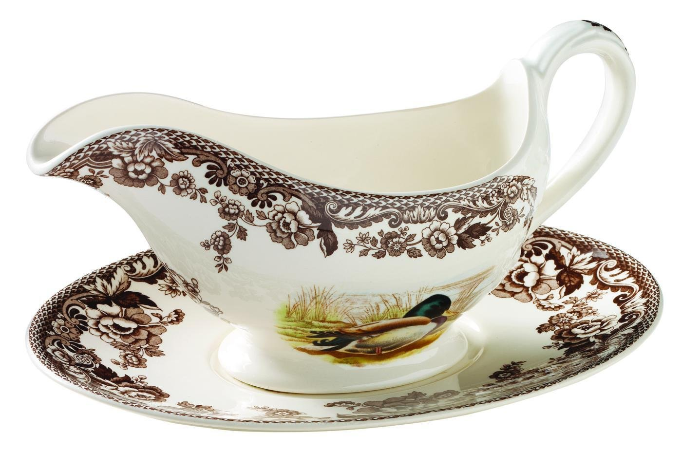 Spode Woodland Mallard, Snipe and Rabbit Sauceboat and Stand