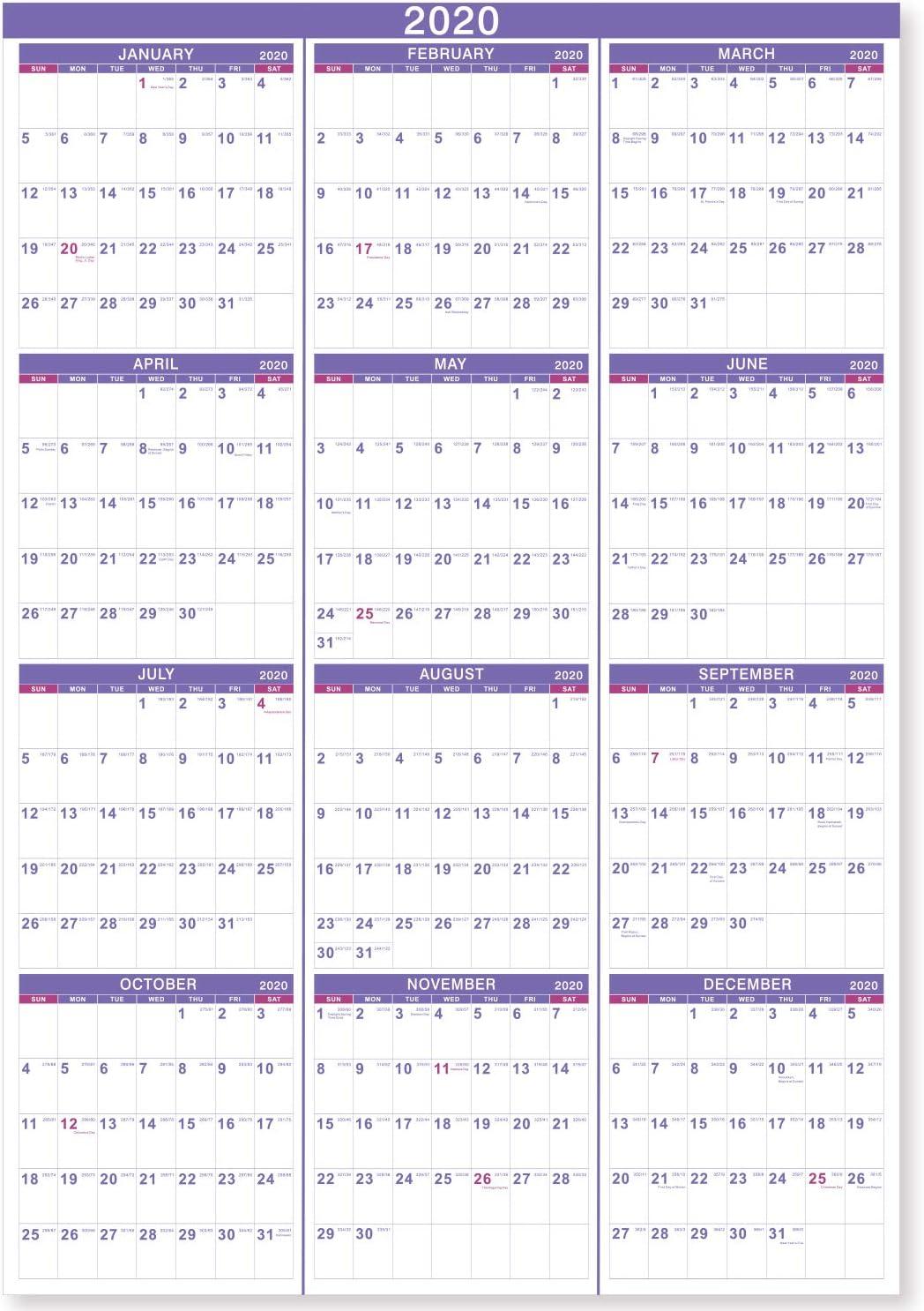 2020 Wall Calendar 2020 Yearly Wall Calendar Perfect for Organizing /& Plannin