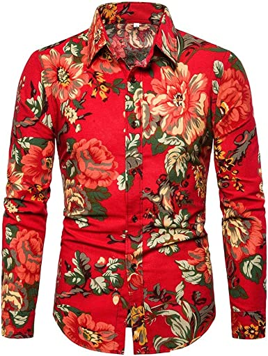 Mens Button Down Shirts Long Sleeve Regular Fit Button Down Beach Top Shirts for Men by perfectCOCO