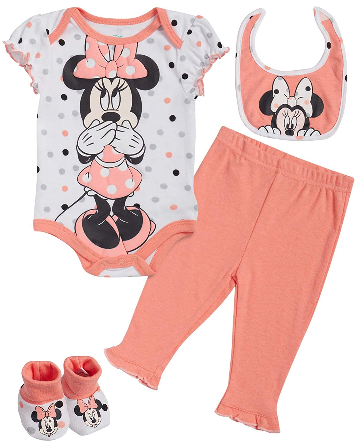 Disney Baby Girls Newborn Minnie Mouse 4-Piece Bodysuit Pants Layette Set with Booties