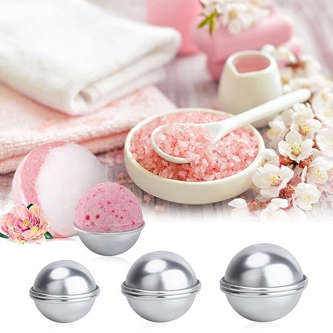 WEBSUN - Juego de moldes para bombas de baño (104 piezas, 6 unidades, 3 tamaños, metal, con papel de regalo, bolsas de papel de envolver y pegatinas para ...