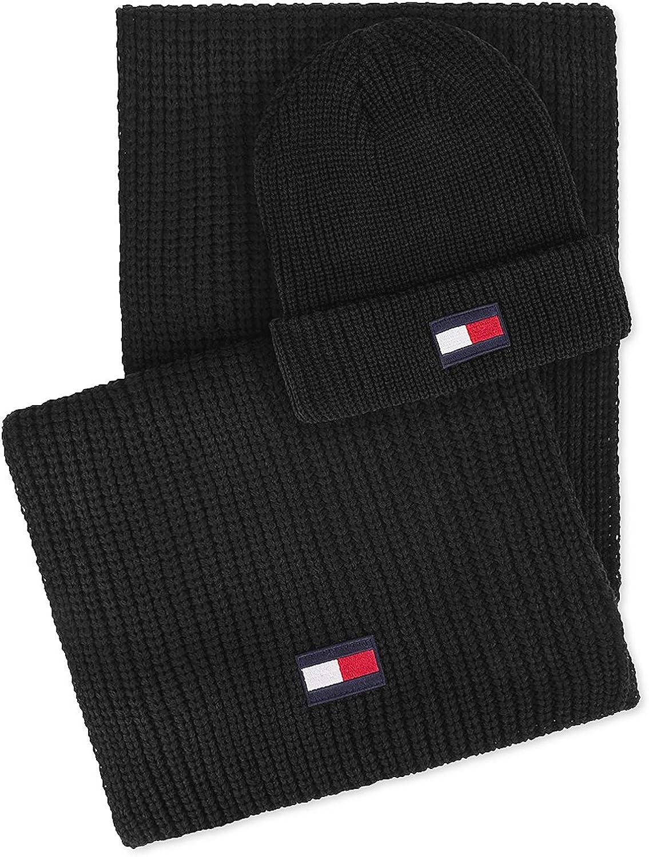 Tommy Hilfiger Mens Beanie Cold Weather Hat & Scarf Set Black O/S