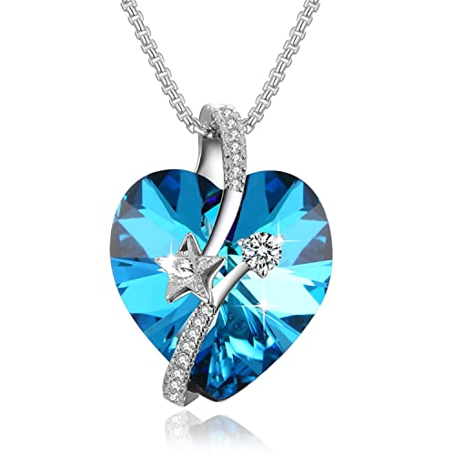 PLATO H Shooting Star Heart Crystal Necklace Eternal Love Heart Star Necklace Woman Gifts Necklace Love Heart Pendant Necklace, Ocean Blue Classic Purple
