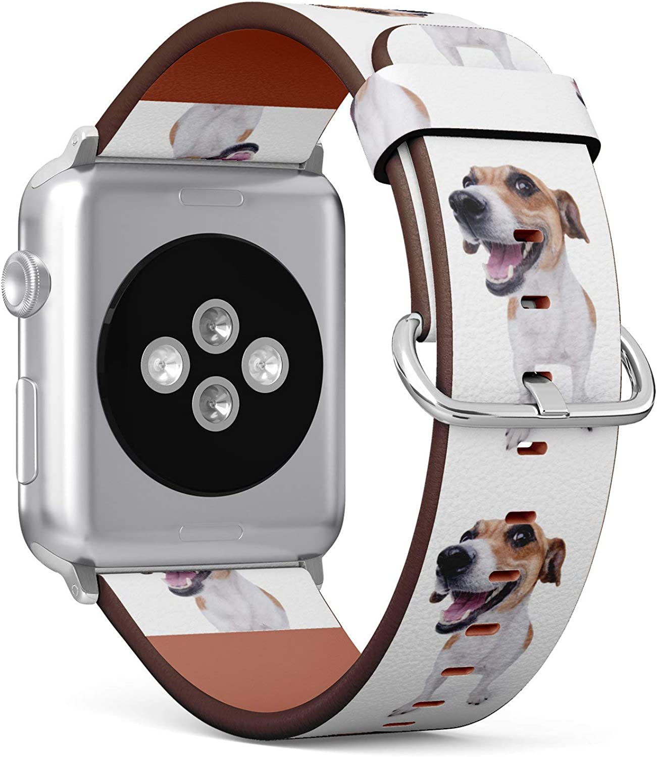 (Funny Jack Russell Terrier Dog) Patterned Leather Wristband Strap for Apple Watch Series 4/3/2/1 gen,Replacement for iWatch 38mm / 40mm Bands