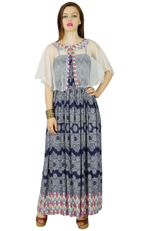 Bimba Frauen lange Rayon flaired Maxi-Kleid mit Smok-Büste & net Poncho