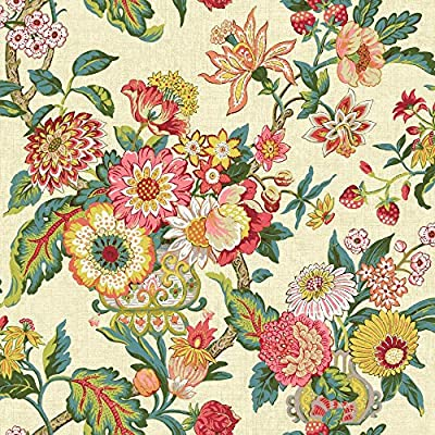 York Wallcoverings GC8703 Global Chic Graceful Garden Wallpaper, Beige, Yellow, Pink, Red, Orange, Dark Green