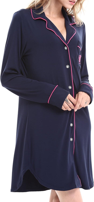 Damen Viskose Nachthemd Knopfleiste Sleepshirt Alle Jahreszeiten Damen Schlafanzug Set MEHRWEG Nachthemden f/ür Damen NORA TWIPS Schlafanzugoberteile f/ür Damen