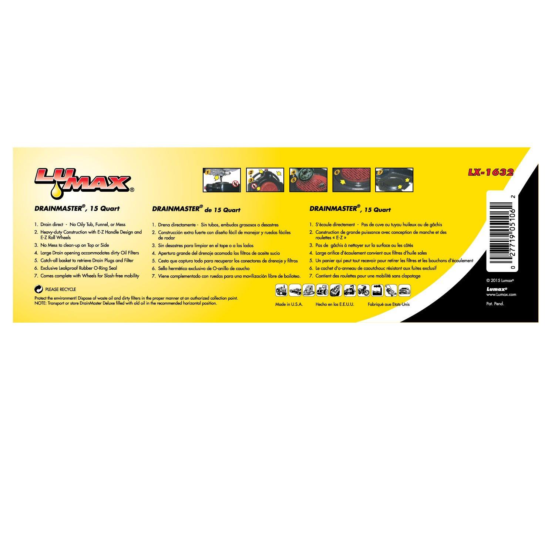 Lumax LX-1632 Black 15 Quart Drainmaster Drain Pan and Waste Oil Storage by Lumax