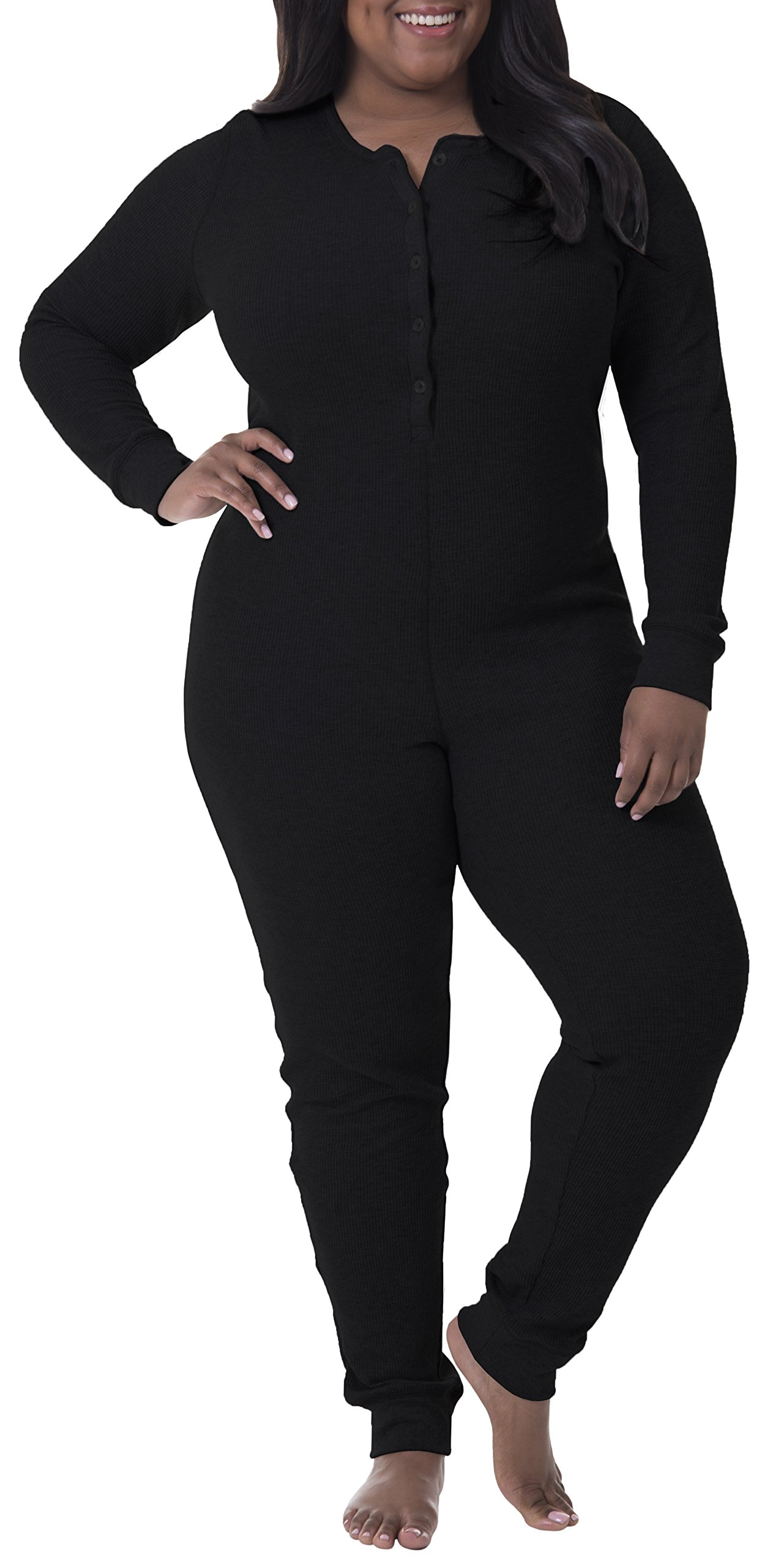 Fruit of the Loom Women's Plus Size Fit for Me Waffle Thermal Union Suit, Black Soot, 2X